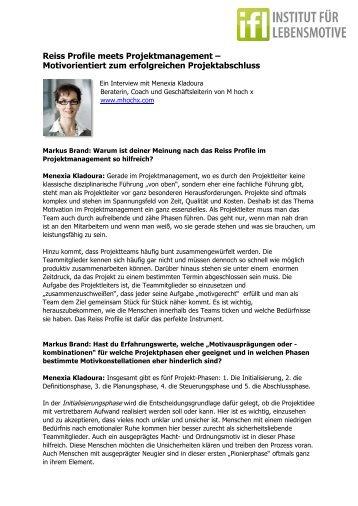 Reiss Profile im Projektmanagement - Mhochx