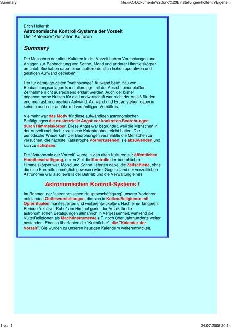 Astronomische Kontroll-Systeme der Vorzeit