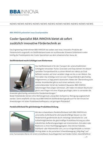 Cooler-Spezialist BBA INNOVA bietet ab sofort zusätzlich innovative ...