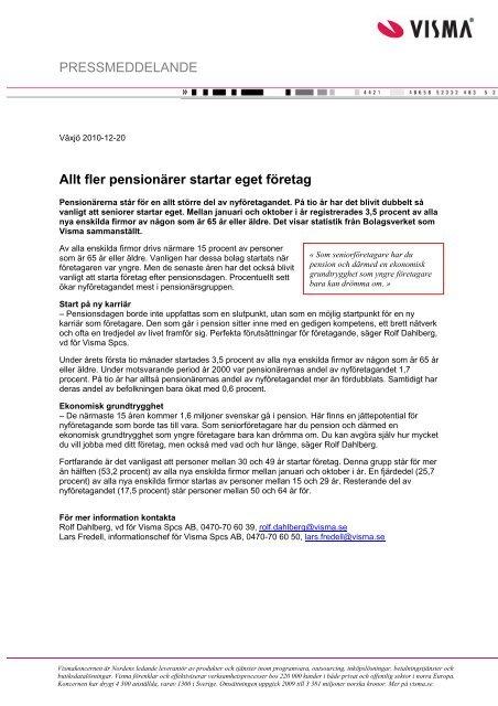 PRESSMEDDELANDE Allt fler pensionärer startar ... - Mynewsdesk