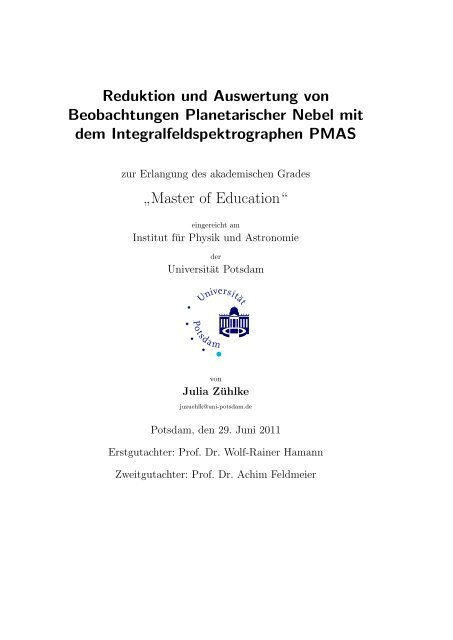 Master Of Education Astrophysik An Der Universitat Potsdam