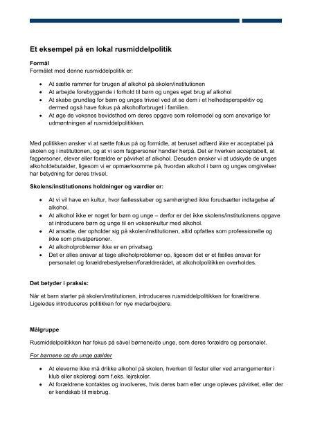 Et eksempel på en lokal rusmiddelpolitik - SSP Aalborg