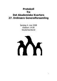 Protokoll - 27. Generalforsamling - Det Akademiske ... - Kvarteret