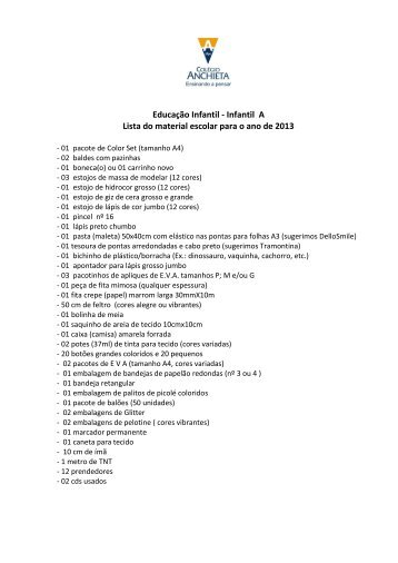 Educação Infantil - Infantil A Lista do material escolar para o ano de ...