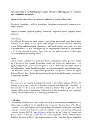 De documentatie en beschrijving van bedreigde talen en hun ...