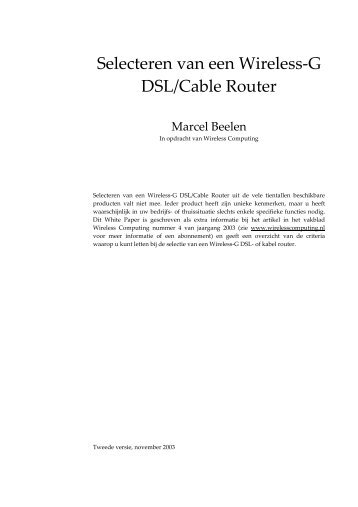 Selecting a wireless router tips (Dutch) - 2003 - Eversa