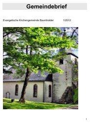Baumholder Gemeindebrief 1.2012 - Kirchenkreis Obere Nahe