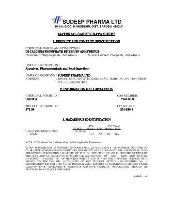 di calcium phosphate anhydrous - Sudeep Pharma Ltd.