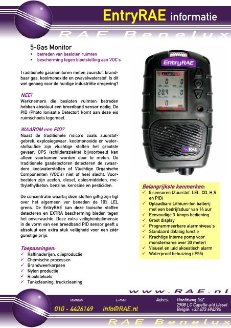 Datasheet De EntryRAE 1 t/m 5 gasdetector