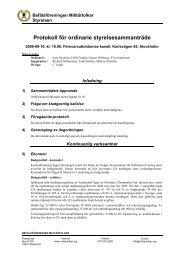 Protokoll från ordinarie styrelsesammanträde - Befälsföreningen ...