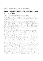 Debat: Kinapolitik (2): Forfejlet Kina-korstog fra Ole Bruun