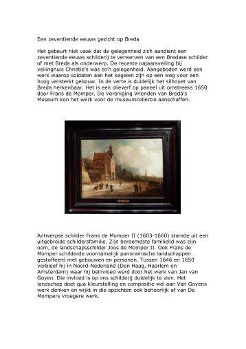 Een zeventiende eeuws gezicht op Breda - Breda's Museum