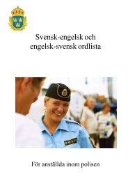Svensk-engelsk och engelsk-svensk ordlista - Polisen
