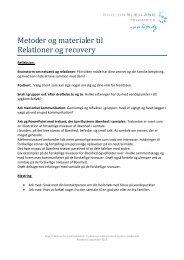 Metoder og materiale til Relationer og Recovery