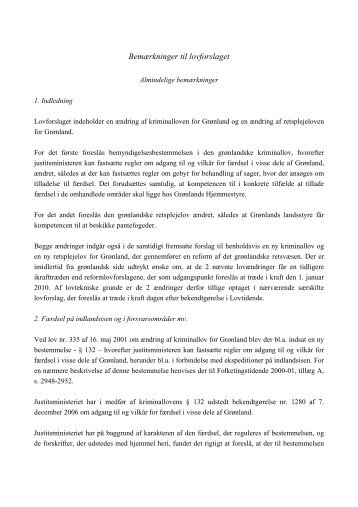 Bemærkninger til lovforslaget - Inatsisartut