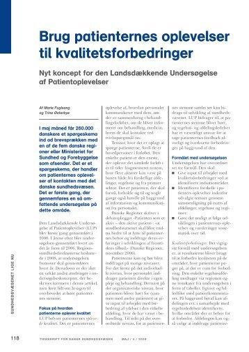 Brug patienternes oplevelser til kvalitetsforbedringer - Enheden for ...