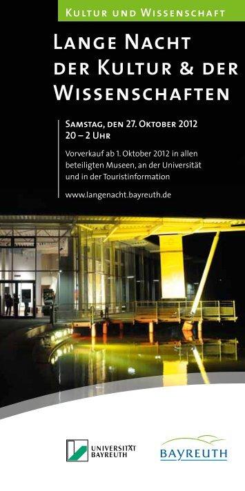 Lange Nacht der Kultur & der Wissenschaften - Stadt Bayreuth