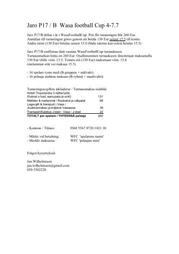 Jaro P17 / B Wasa football Cup 4-7.7 - FF Jaro
