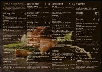 Koude Voorgerechten € 8,95 Soepen € 4,95 Warme ... - Bistro Bellair