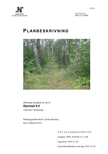 PLANBESKRIVNING - Norrköpings kommun