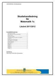 Studiehandledning för Matematik 1c - MaNaDa