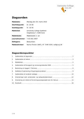 Dagsorden - University College Sjælland