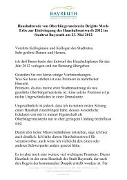 Haushaltsrede von Oberbürgermeisterin Brigitte ... - Stadt Bayreuth