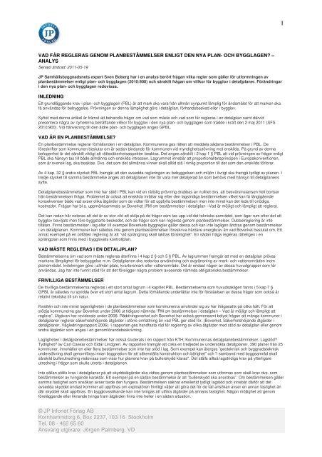 Sven Bobergs artikel i JPinfonet (Pdf) - och Bygglagen