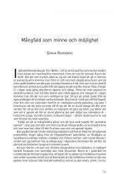 Mångfald som minne och möjlighet - Göran Rosenberg