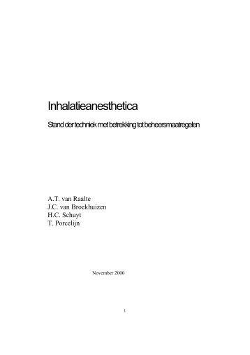 Inhalatieanesthetica - Beter met arbo
