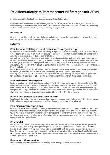 Revisionsudvalgets kommentarer til årsregnskab 2009 - Dansk ...