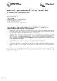 Anlagensatz – Bürgschaft der BÜRGSCHAFTSBANK NRW