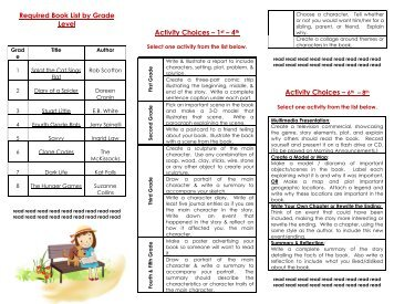 Required Book List by Grade Level Activity Choices – 1st – 4th ...