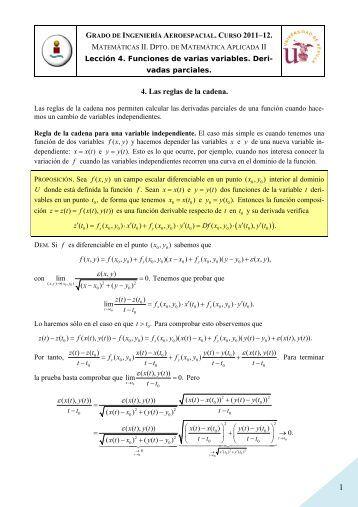 Leccion 4. 4. Las reglas de la cadena - Matemática Aplicada II