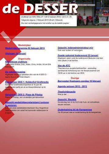 Wedstrijden Wedstrijdprogramma 02 februari 2013 Uitslagen 26 ...