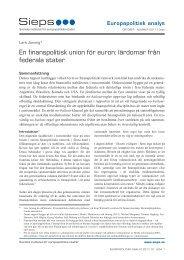 En finanspolitisk union för euron: lärdomar från federala stater - Sieps