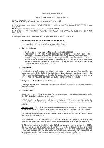 C om ité provin c ialNam ur PV N° 1 – Réunion du lundi 24 ... - AWBB