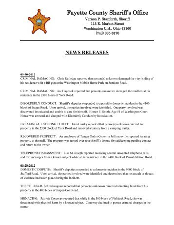 September 2012 News Releases - Fayette County Sheriff's Office