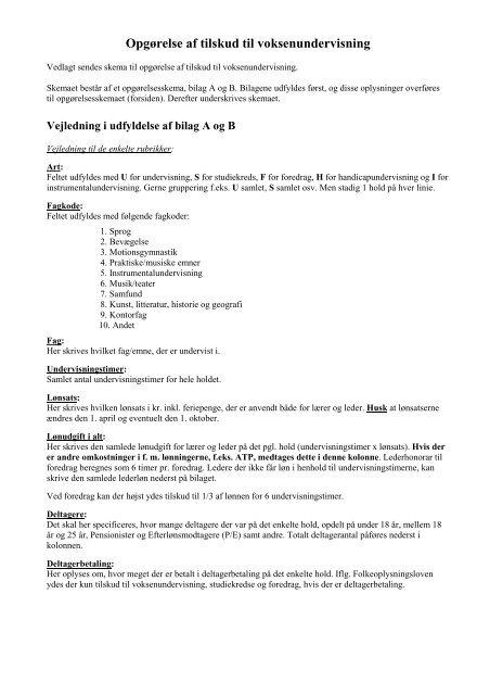 Opgørelse af tilskud til voksenundervisning - Lemvig Kommune