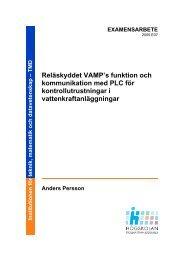 Reläskyddet VAMP's funktion och kommunikation med PLC för ...