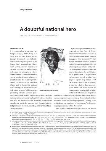 A doubtful national hero: Han Yongun's Buddhist - Korean Histories