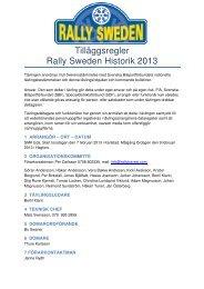 Tilläggsregler Rally Sweden Historik 2013 - Race Consulting