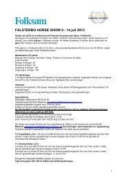 Ryttarmeddelande Folksam SO - Falsterbo Horse Show