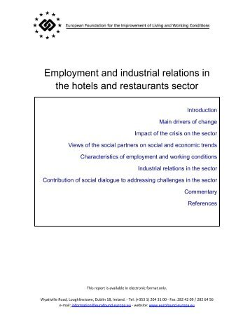 Employment and industrial relations in the hotels and restaurants ...