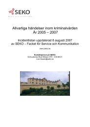 Allvarliga händelser inom kriminalvården År 2005 – 2007 - Seko