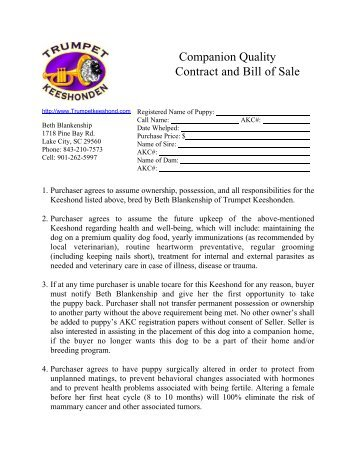 Companion Quality Contract and Bill of Sale - Trumpet Keeshonden