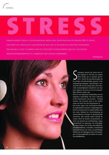 AANHOUDENDE STRESS IS EEN BELANGRIjKE BRON vOOR ...