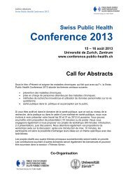 Call for Abstracts - Swiss Public Health Conference 2013