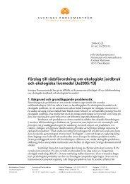 Förslag till rådsförordning om ekologiskt jordbruk och ekologiska ...