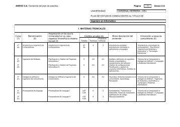 ANEXO 2-A. Contenido del plan de estudios. Página 1 Anexo 2-A ...